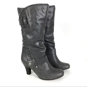 NWOT Ana Gray Slouchy Vegan Leather Heeled Boots